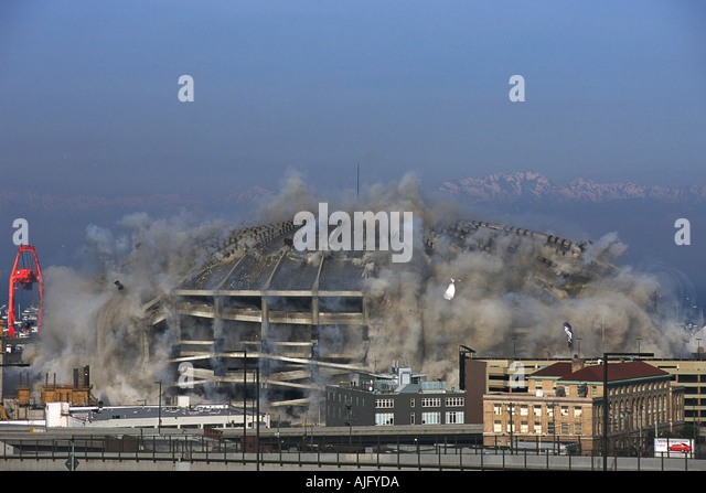 Building Demolition With Explosives : Implosion kingdome stock photos
