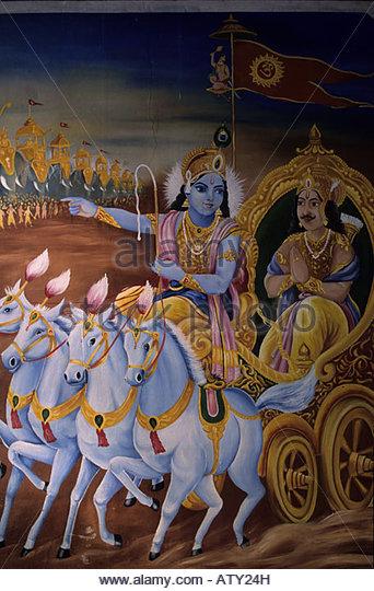 Krishna as the charioteer with Arjuna, Hindu mythology - Stock Image