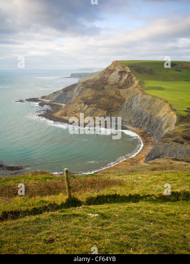 View from Emmetts Hill looking West over Chapman's Pool on the Isle of Purbeck. - Stock Image