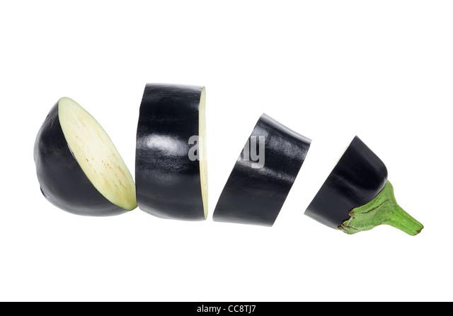 Slices of Aubergine - Stock Image