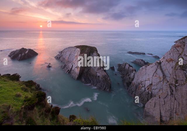 Sunset over the North Devon Coast, Devon, England. Spring (April) 2014. - Stock Image