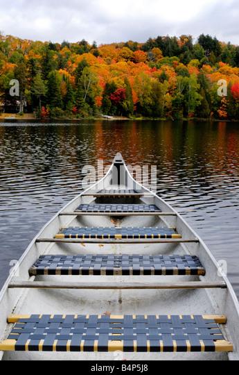 Canoe on a lake - Stock Image