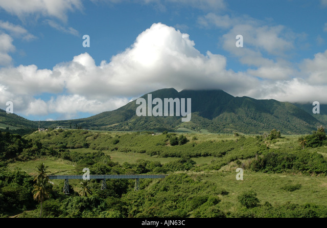 St Kitts Caribbean West Indies Mt Liamuiga scenic landscape - Stock Image