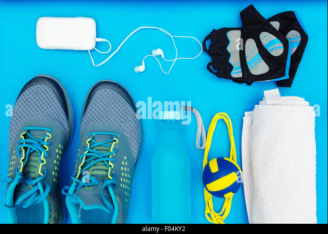 Different tools and accessories for sport. Fitness concept - Stock-Bilder