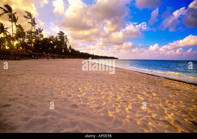 Punta Cana Dominican Republic White Sand Beach with Palm Trees and Puffy Clouds - Stock Image