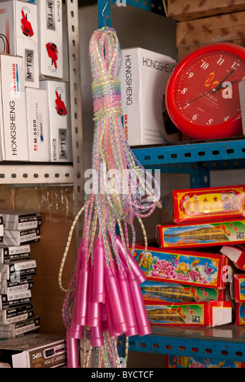 Children's toys at wholesale market in Chengdu, Sichuan Province, China. JMH4776 - Stock Image