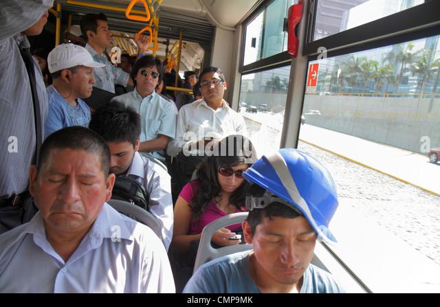 Peru Lima San Isidro Paseo de la Republica Canaval y Moreyra Estacion Metropolitano Bus Line public transportation - Stock Image