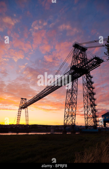 Transporter Bridge Newport Gwent Wales at sunset - Stock-Bilder