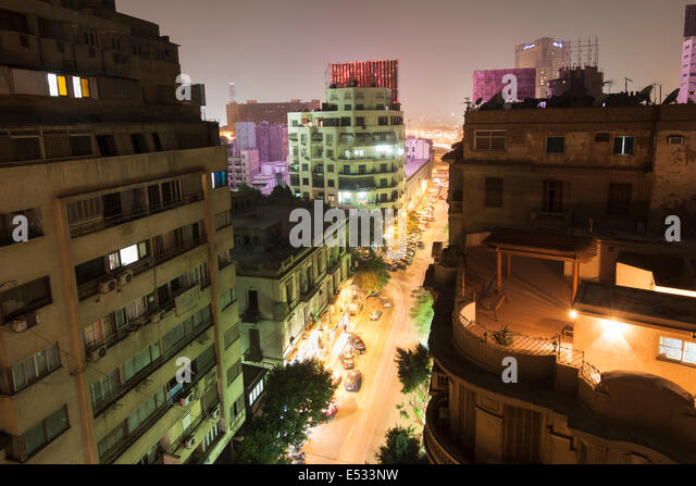 Downtown Cairo overview at night. Egypt - Stock Image