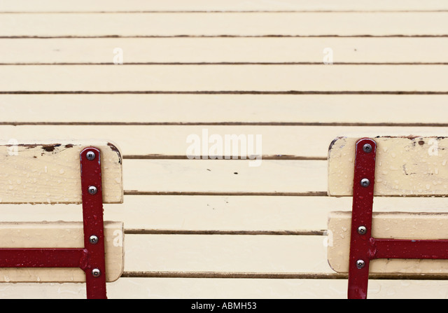 Two Empty Chairs In Beer Garden - Stock Image