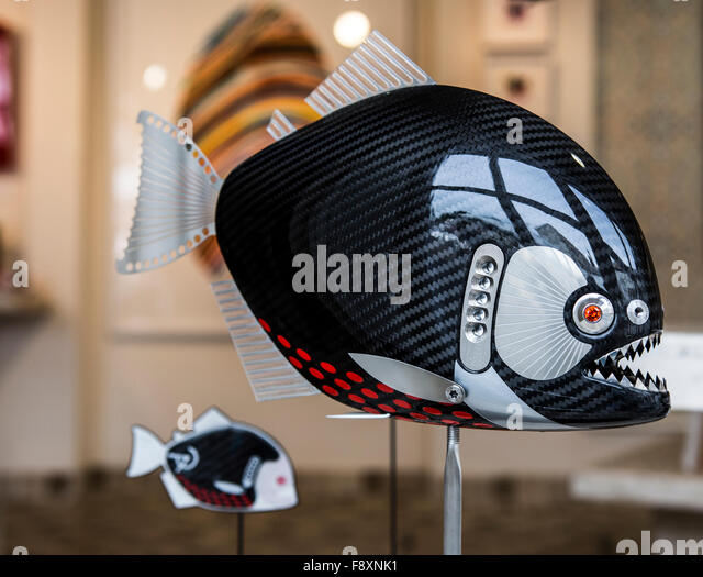 Angry Fish in Studio Shop Window Padstow Cornwall - Stock Image