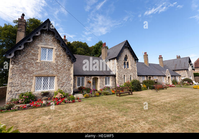 Wide angle view of the historic, St Thomas' Hospital On Moat Sole, Sandwich, Kent - Stock Image