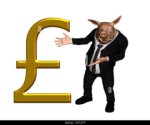 Pig dressed as a business man with large gold pound sterling sign - Stock Image