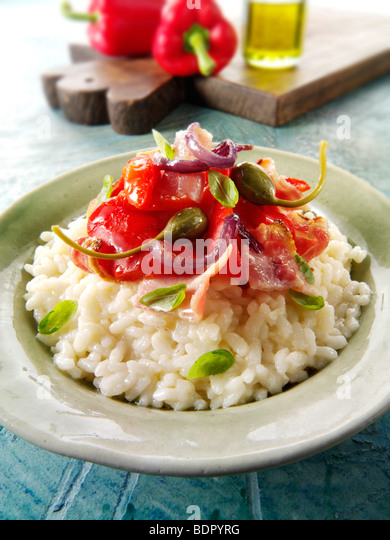 Classic risotto with Roast peppers, vegetables and bacon - Stock Image