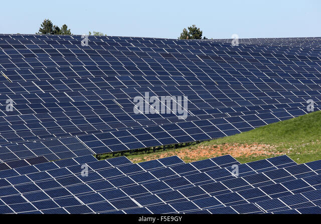 Solar farm, Photovoltaic power plant, Alpes-de-Haute-Provence, France, Europe - Stock Image