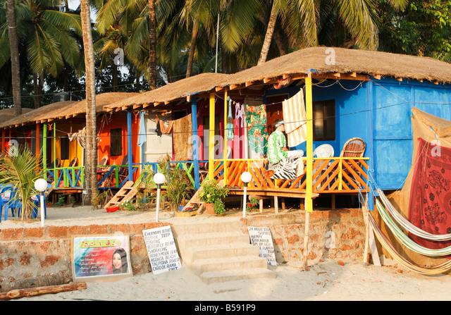 Colourfull beachhuts Palolem Goa India - Stock-Bilder