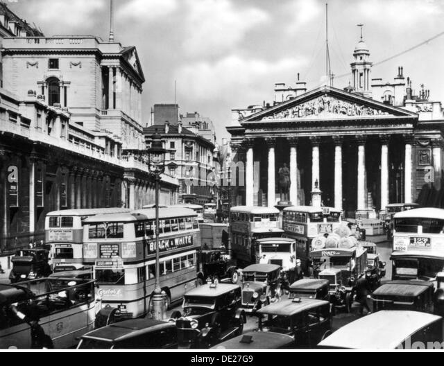 geography travel Great Britain London squares Bank Junction during the rush hour traffic view circa 1930 bank of - Stock Image