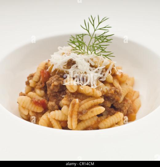Close up of plate of Sardinian pasta - Stock Image