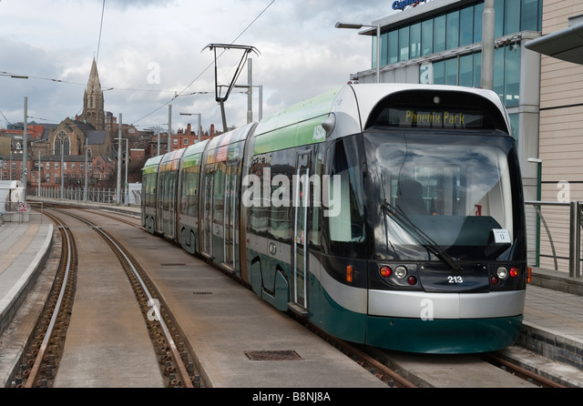 Metro terminus and tram at Nottingham Station,England,'Great Britain' - Stock Image