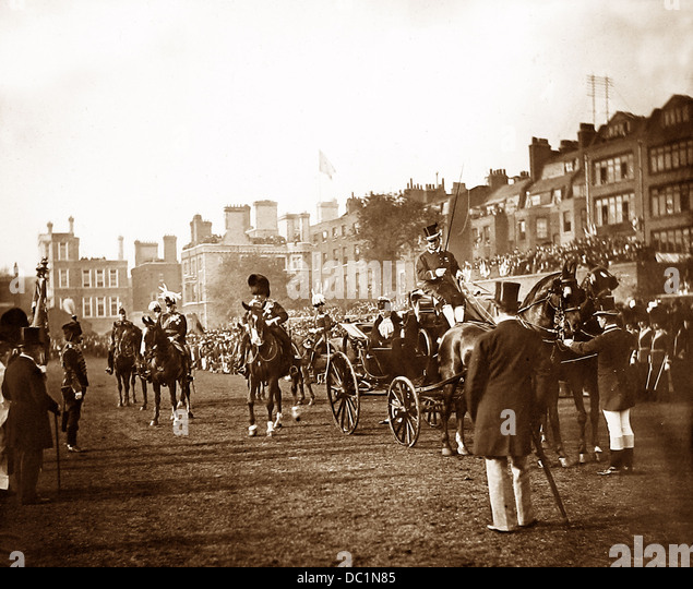 Princess of Wales presenting new Colours to the Honourable Artillery Company Victorian period probably 1894 - Stock Image