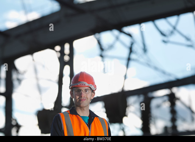 Male Worker At Power Station - Stock Image