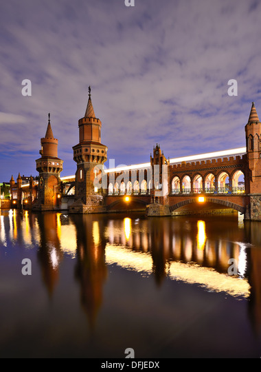 Oberbaum Bridge over the Spree River in Berlin, Germany. - Stock Image