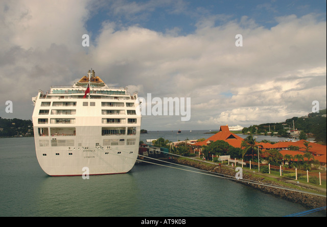 Castries St Lucia Cruise ship at Pointe Seraphine duty free shopping center - Stock Image
