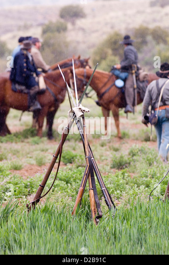 Civil War Reenactment Battles Of Glorieta Pass And Apache Canyon In New Mexico. - Stock Image