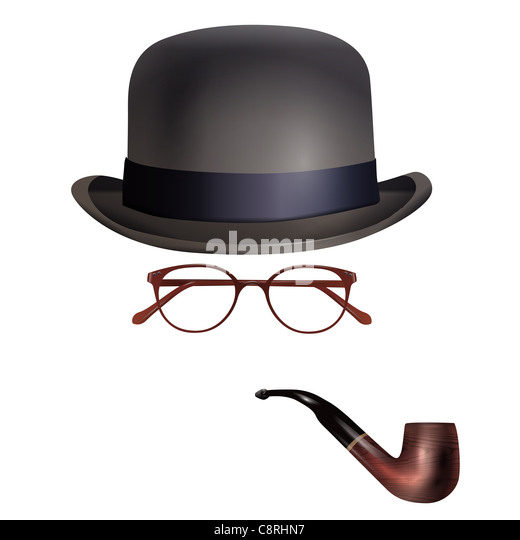 Hat, glasses and pipe against white background - Stock-Bilder