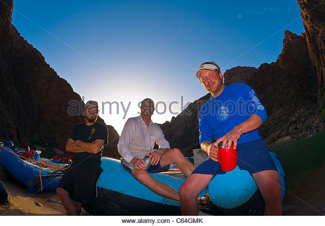 Camping at 'Cremation', Whitewater rafting trip on the Colorado River in Grand Canyon, Grand Canyon National - Stock Image