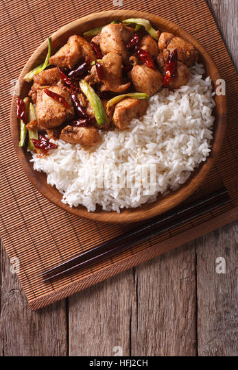 rice-with-spicy-kung-pao-chicken-on-a-pl