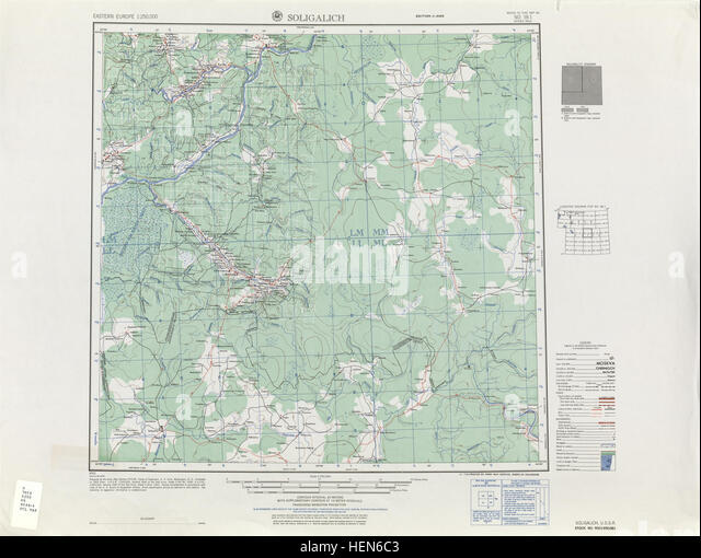 USSR map NO 38-1 Soligalich - Stock Image