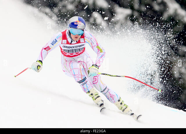 Garmisch-Partenkirchen, Germany. 04th Feb, 2016. Lindsey Vonn of the USA in action during the women's Downhill - Stock Image