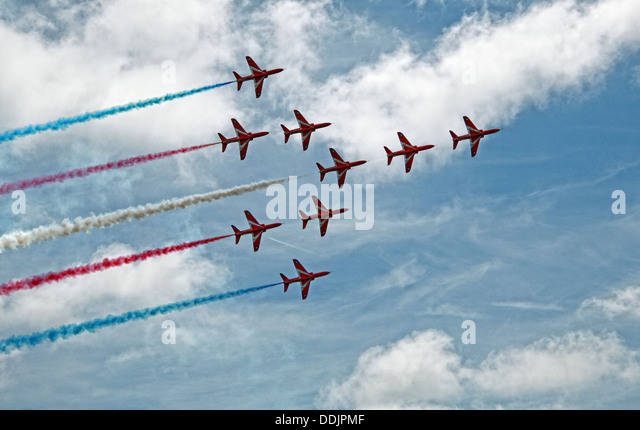 Red arrows Aerial display in the sky at Siverstone British Grand Prix GP England UK 2013 - Stock Image