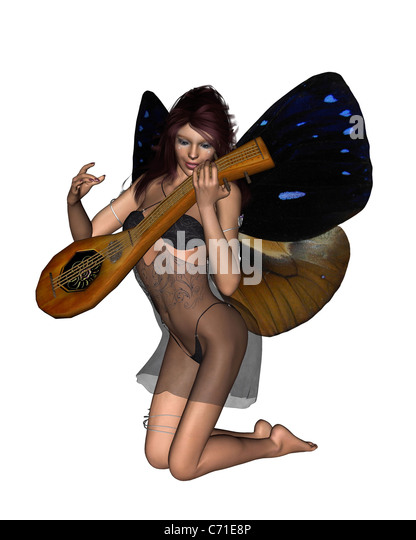 Fairy Playing a Lute - Stock Image