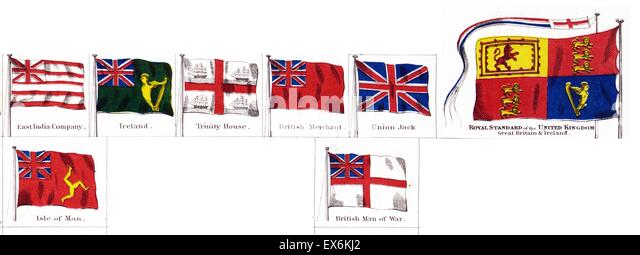 British national and colonial flags 1914 - Stock-Bilder
