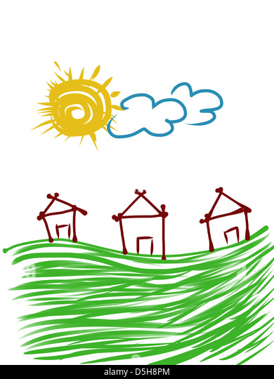 Childlike Illustration Of Houses And Sky - Stock Image