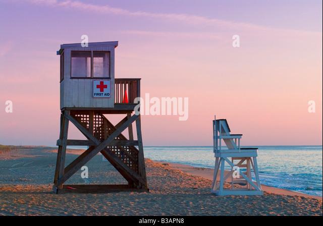 Lifeguard stands at sunrise along Nauset Beach, Cape Cod National Seashore, Cape Cod, MA - Stock Image