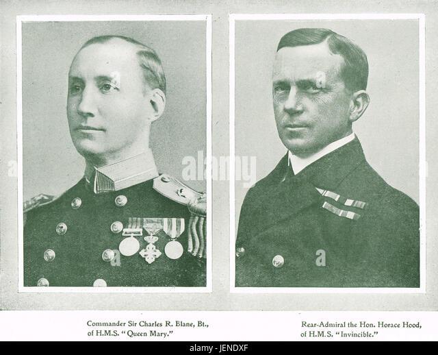 Battle of Jutland Royal Navy casualties Commander Charles Blane Of HMS Queen Mary, & Rear Admiral Horace Hood - Stock Image