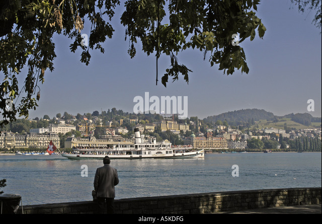 Lucerne Switzerland lake with steamboat scenic landscape - Stock Image