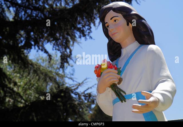 Chile Santiago Cerro San Cristobal Terraza Bellavista statue statuette Blessed Laura Vicuna Vicuña Roman Catholic - Stock Image