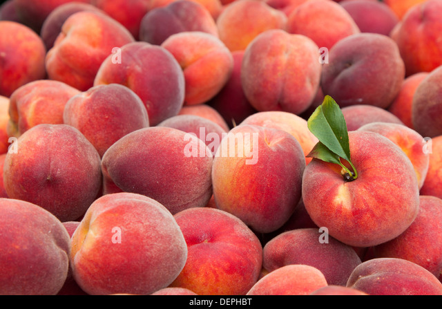 Fresh and juicy peach fruits - Stock Image