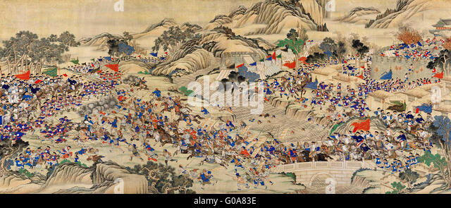 Regaining the Provincial Capital of Ruizhou - A scene of the Taiping Rebellion, 1850-1864 - Stock-Bilder