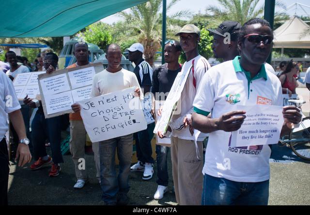 World Refugee Day rally in Levinski Park, Tel-Aviv, Israel. 24/06/2011. - Stock Image