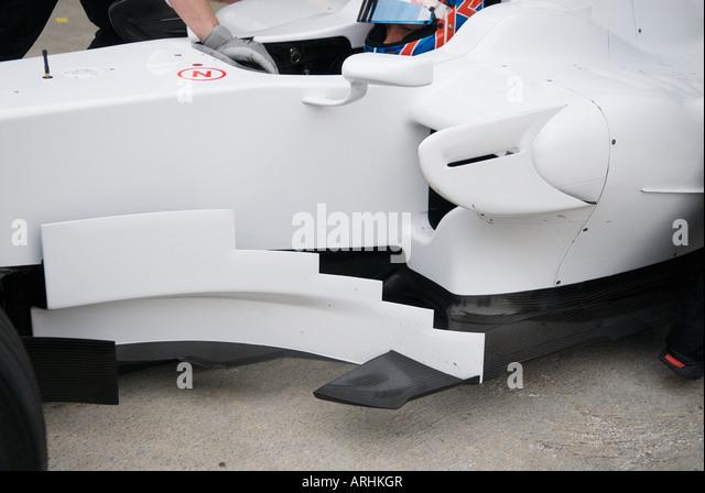 ateral wing of Honda racecar during Formula 1 Testing on Circuit Ricardo Tormo Jan. 2008 - Stock Image