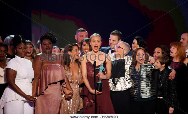 Cast members of Orange is the New Black celebrate after winning the award for Best Ensemble in a Comedy Series during - Stock-Bilder