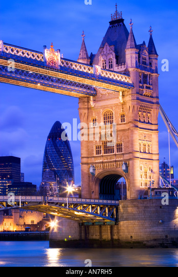 Tower Bridge and the Swiss Re Building London - Stock Image