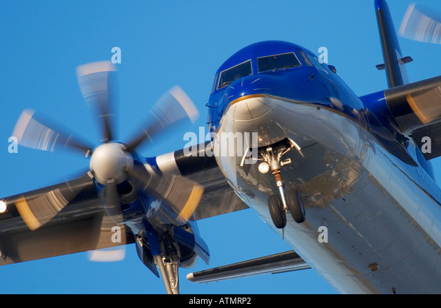 Close-up of regional propeller airplane - Stock Image