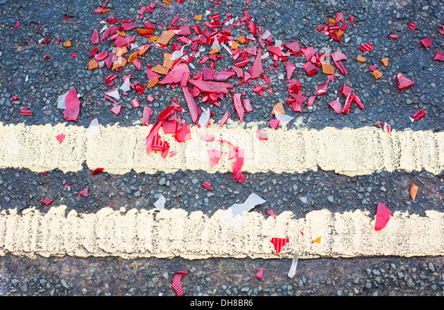 Broken Glass On Road From Traffic Accident - Stock Image