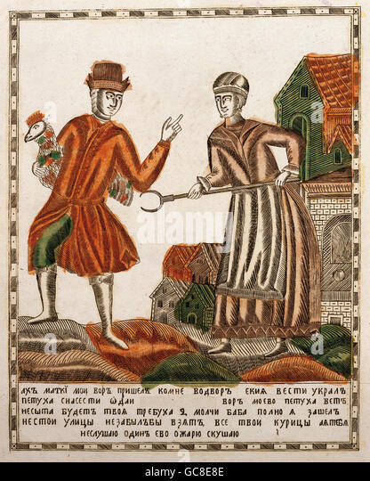 people, couples, farmer's wife and poultry robber, copper engraving, Russia, circa 1830, State Historical Museum, - Stock-Bilder